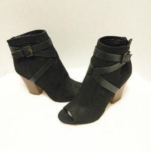 Shoedazzle Perla Black Opentoe Ankle Boot …